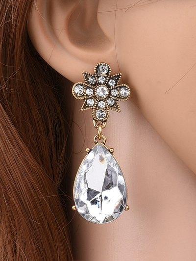 Rhinestone Water Drop Floral Earrings - WHITE  Mobile