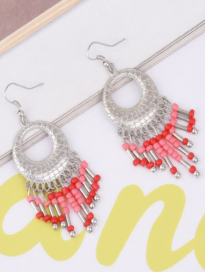 Hollow Out Beads Hook Earrings - RED  Mobile