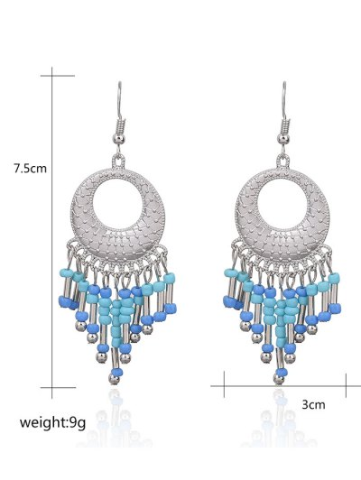 Hollow Out Beads Hook Earrings - LIGHT BLUE  Mobile