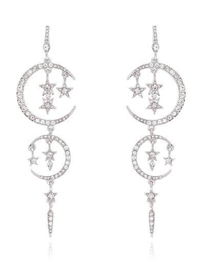 Rhinestone Moon Stars Drop Earrings - SILVER  Mobile