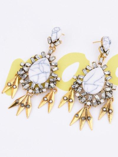 Water Drop Fake Gem Tassel Earrings - WHITE  Mobile