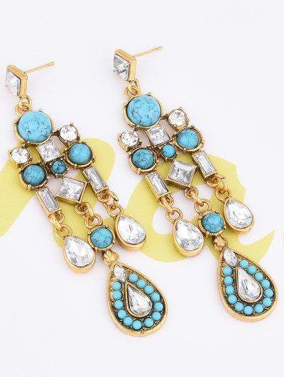 Water Drop Fake Crystal Tassel Earrings - AZURE  Mobile