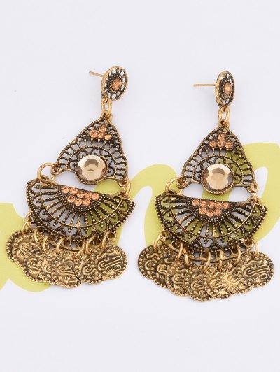 Hollowed Geometry Coin Tassel Earrings - GOLDEN  Mobile