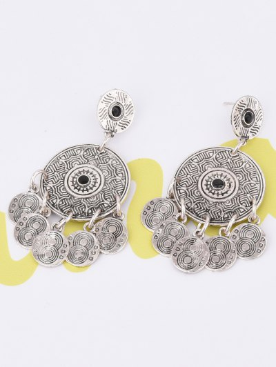 Coin Shape Tassel Drop Round Earrings - SILVER  Mobile