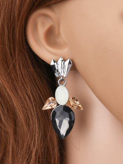 Faux Gemtone Water Drop Earrings - BLACK  Mobile