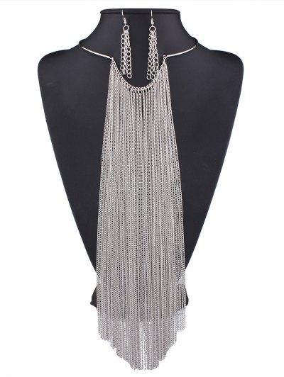 Long Tasseled Necklace Set - SILVER  Mobile