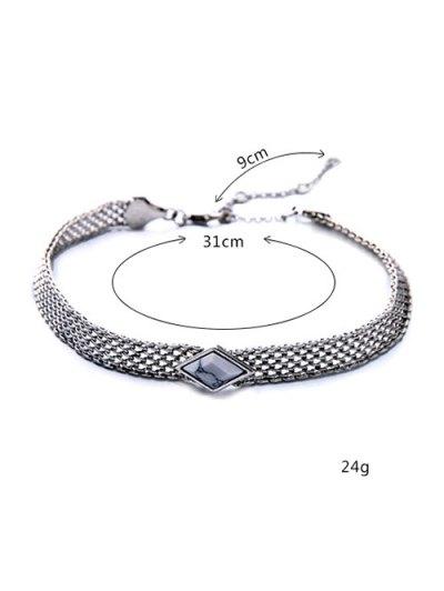 Faux Gemstone Geometric Vintage Necklace - WHITE  Mobile