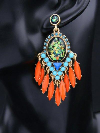 Artificial Gemstone Oval Drop Earrings - JACINTH  Mobile