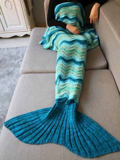 Wave Striped Crochet Knit Mermaid Blanket Throw - COLORMIX  Mobile