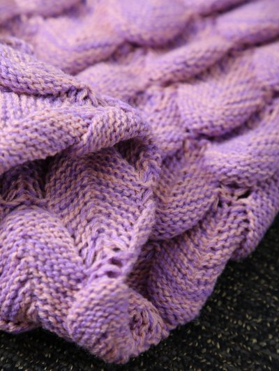 Fish Scale Knit Long Mermaid Blanket Throw - PINK  Mobile