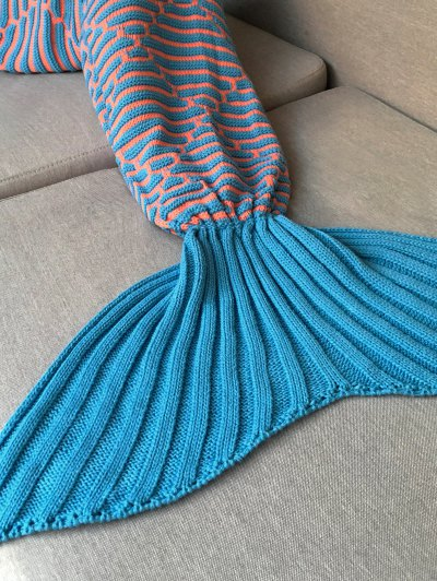 Stripy Knit Mermaid Blanket Throw - LAKE BLUE  Mobile