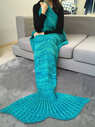 Crochet Knit Stripy Mermaid Blanket Throw - GREEN  Mobile