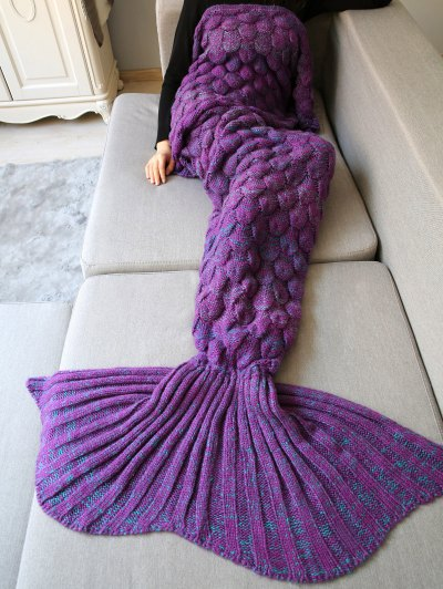 Fish Scale Crochet Mermaid Blanket Throw - PURPLE  Mobile