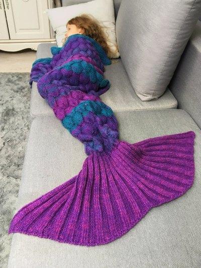 Color Block Kids' Mermaid Blanket Throw - VIOLET ROSE  Mobile