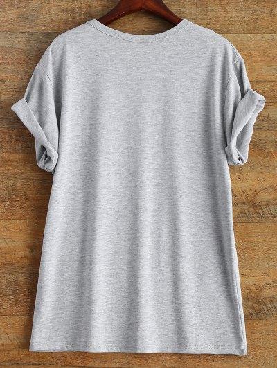 Short Sleeve Letter Print Unisex T-Shirt - GRAY L Mobile