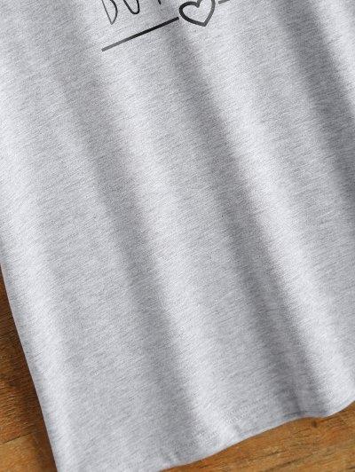 Short Sleeve Letter Print Unisex T-Shirt - GRAY S Mobile
