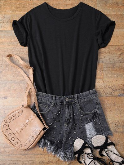 Jewel Neck Salvatore 17 T-Shirt - BLACK M Mobile