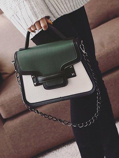 Chains Color Block Handbag - GREEN  Mobile