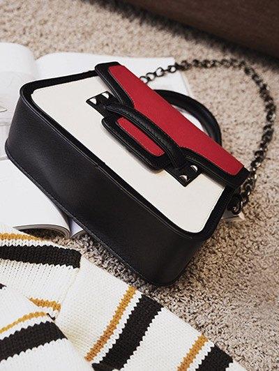 Chains Color Block Handbag - RED  Mobile