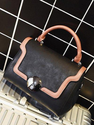Color Panel PU Leather Handbag - BLACK  Mobile