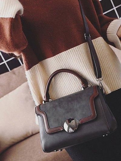 Color Panel PU Leather Handbag - GRAY  Mobile