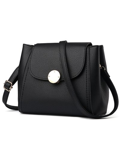 Flap Metal Embellished Shoulder Bag - BLACK  Mobile
