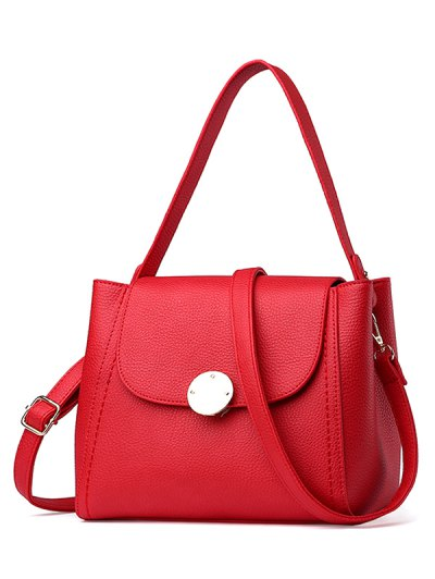 Flap Metal Embellished Shoulder Bag - RED  Mobile