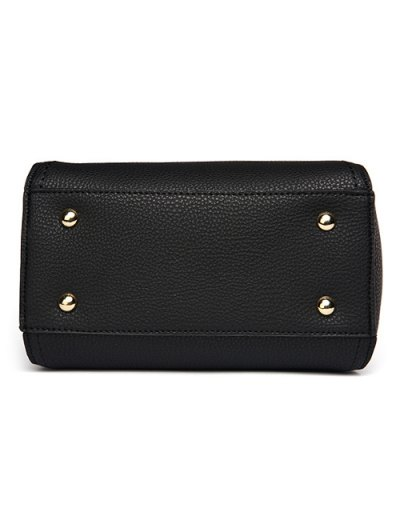 Flap Metal Embellished Shoulder Bag - BLACKISH GREEN  Mobile