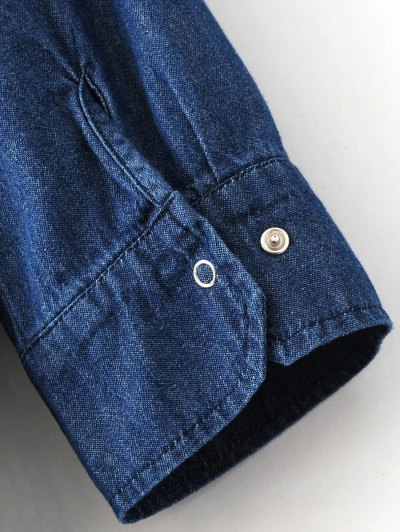 Denim Midi Shirt Dress - DENIM BLUE M Mobile