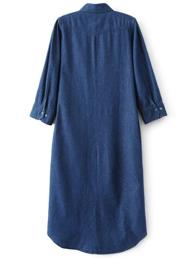 Denim Midi Shirt Dress - DENIM BLUE S Mobile