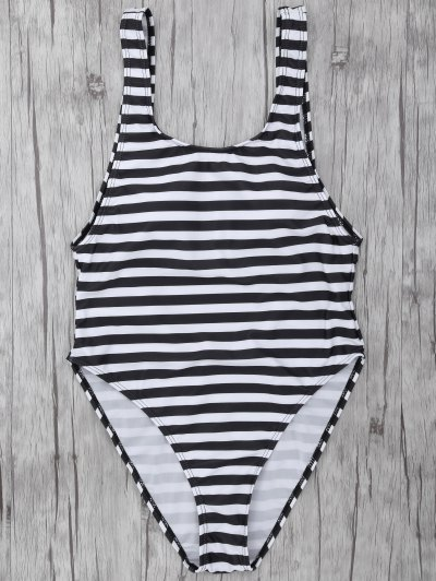 Stripe Drop Armhole Swimsuit - WHITE AND BLACK L Mobile