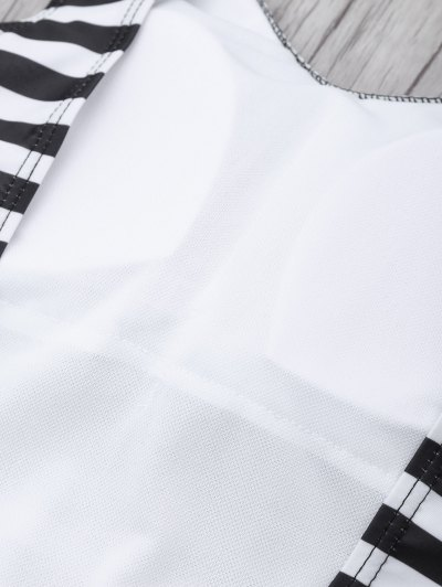 Stripe Drop Armhole Swimsuit - WHITE AND BLACK M Mobile