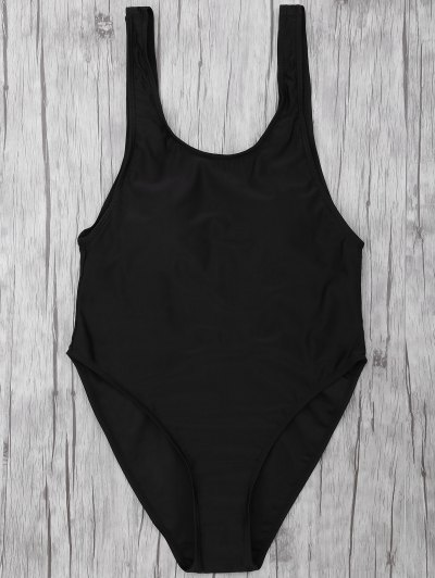 One Piece Backless Swimsuit - BLACK M Mobile