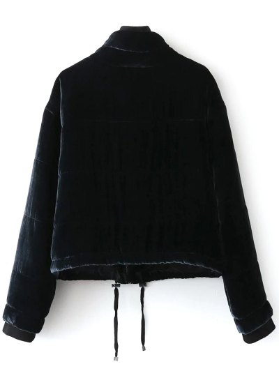 Layered Collar Velvet Winter Jacket - BLACK S Mobile