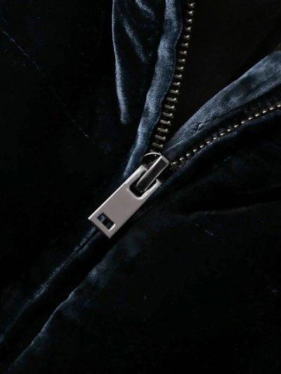 Layered Collar Velvet Winter Jacket - BLACK M Mobile