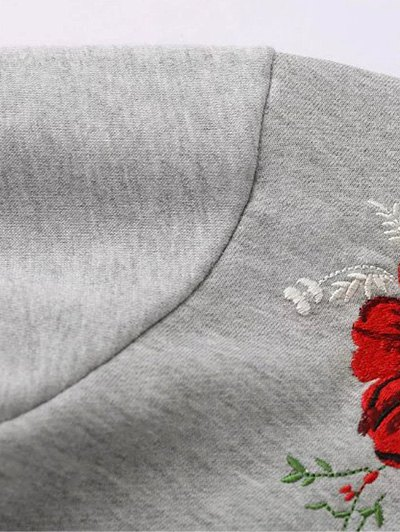 Floral Embroidered Oversized Sweatshirt - GRAY S Mobile