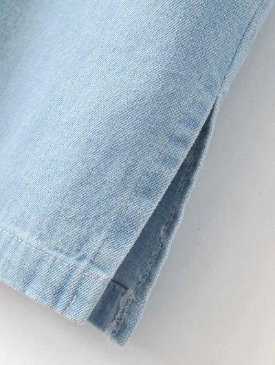 Denim Embroidered Dress - LIGHT BLUE M Mobile