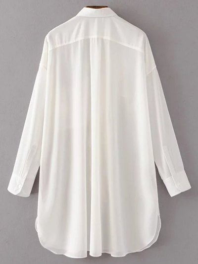 Oversized Chiffon Shirt With Frill - WHITE S Mobile