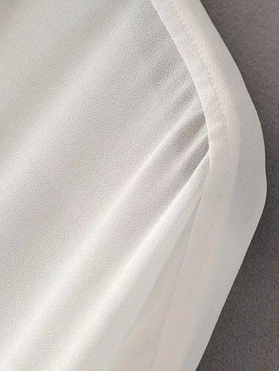 Oversized Chiffon Shirt With Frill - WHITE M Mobile
