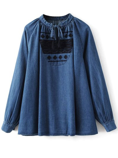 Embroidered Bib Swing Denim Blouse - DENIM BLUE M Mobile