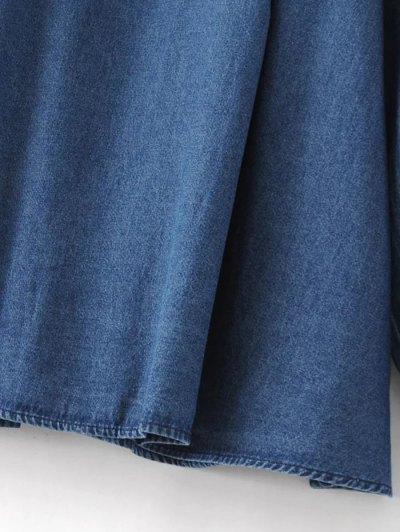 Embroidered Bib Swing Denim Blouse - DENIM BLUE M Mobile