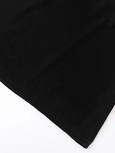 Cropped Wide Leg Velvet Jumpsuit - BLACK M Mobile