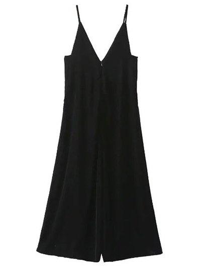 Cropped Wide Leg Velvet Jumpsuit - BLACK L Mobile