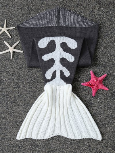 Fish Bone Knit Baby Mermaid Blanket Throw - BLACK  Mobile
