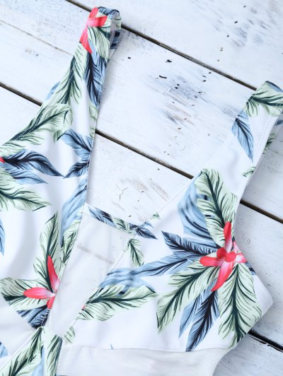 One-Piece Swimwear With Tropical Print - WHITE L Mobile