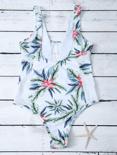 One-Piece Swimwear With Tropical Print - WHITE S Mobile
