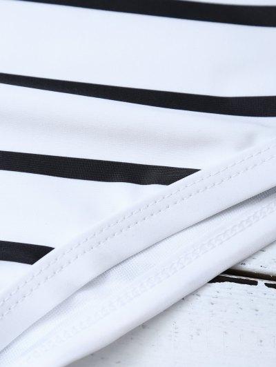 Half Zip Striped One-Piece Swimwear - WHITE S Mobile