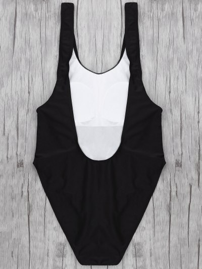 One Piece Backless Swimsuit - BLACK L Mobile
