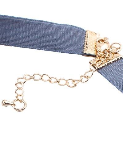 Moon Pendant Velvet Choker - PURPLISH BLUE  Mobile