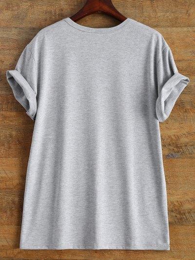 Short Sleeve Herbiuone Boyfriend T-Shirt - GRAY M Mobile